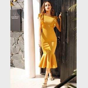 Rouge! Dresses - Ruffle Hem Ginger Yellow Mermaid Bodycon Dress